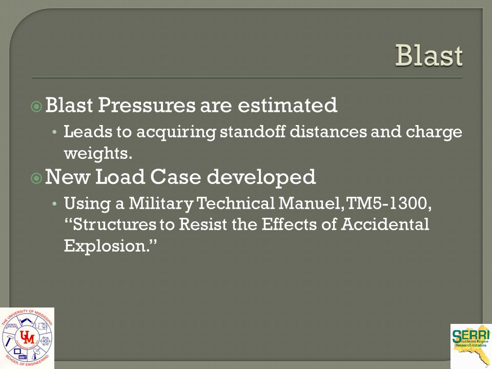 Blast Pressures are estimated Leads to acquiring standoff distances and charge weights. New Load Case developed Using a Military Technical Manuel, TM5