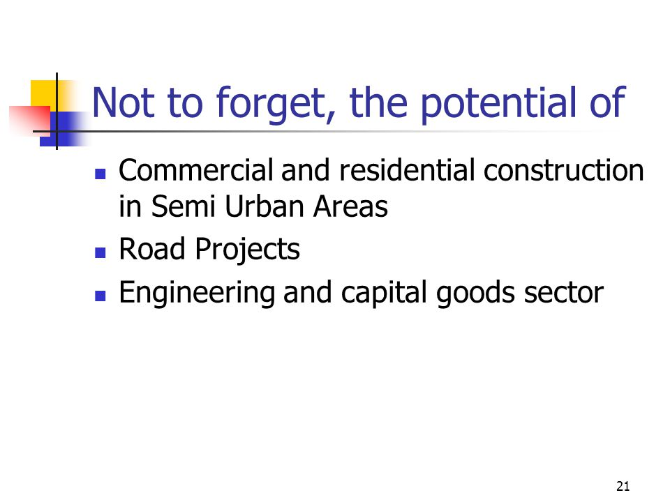 21 Not to forget, the potential of Commercial and residential construction in Semi Urban Areas Road Projects Engineering and capital goods sector