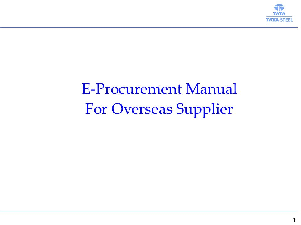 1 E-Procurement Manual For Overseas Supplier