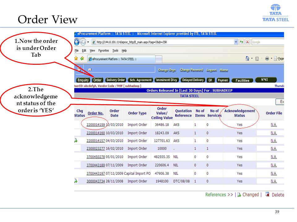 1.Now the order is under Order Tab 2.The acknowledgeme nt status of the order is YES 39 Order View