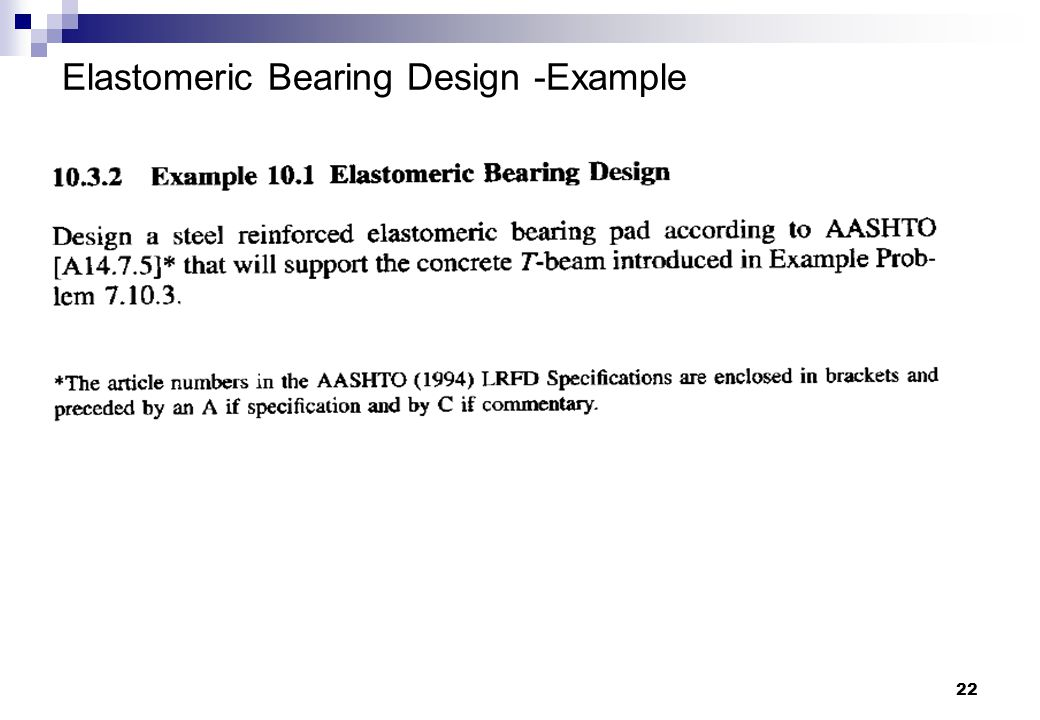 22 Elastomeric Bearing Design -Example