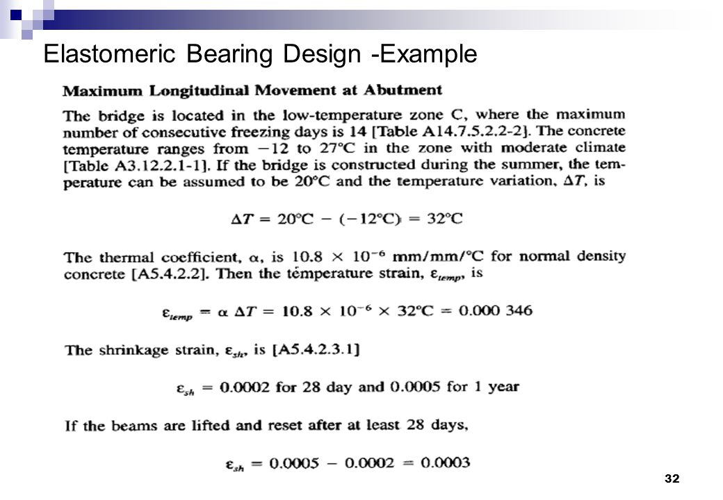32 Elastomeric Bearing Design -Example
