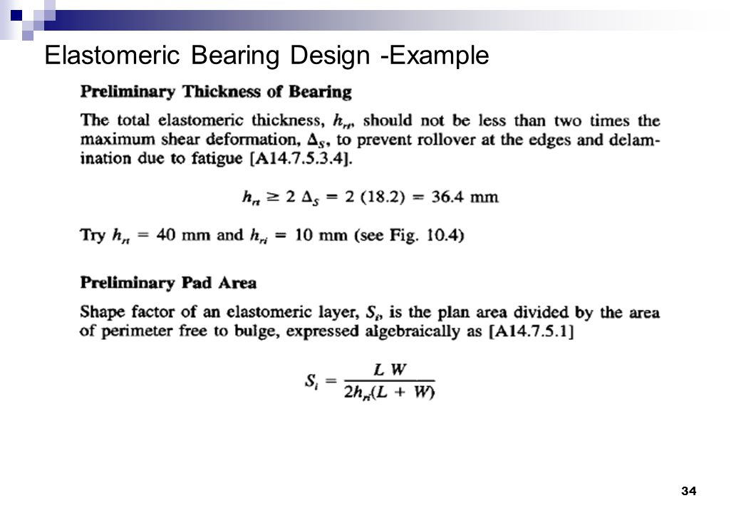 34 Elastomeric Bearing Design -Example