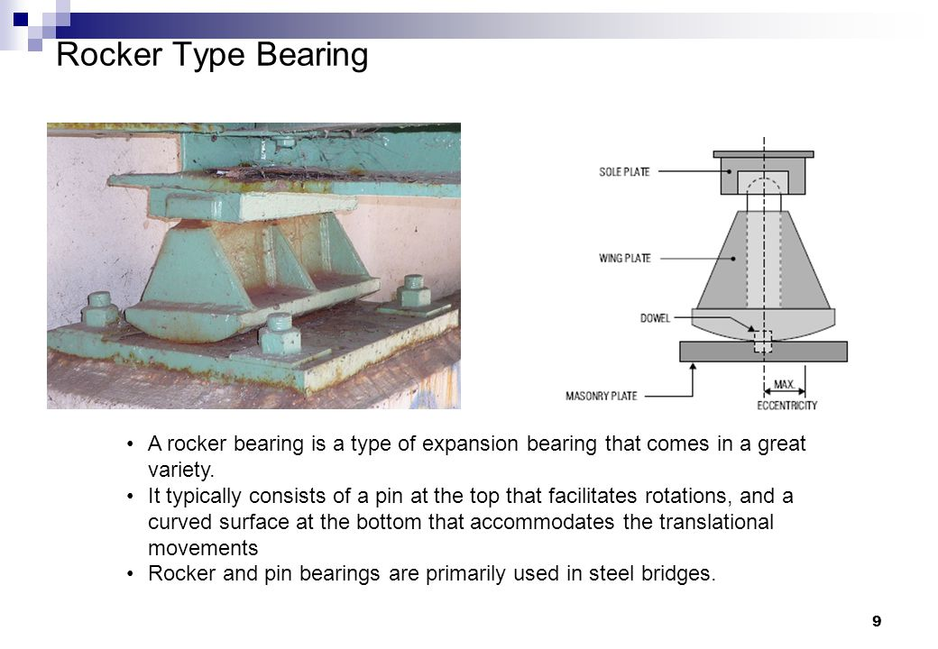 9 Rocker Type Bearing A rocker bearing is a type of expansion bearing that comes in a great variety. It typically consists of a pin at the top that fa