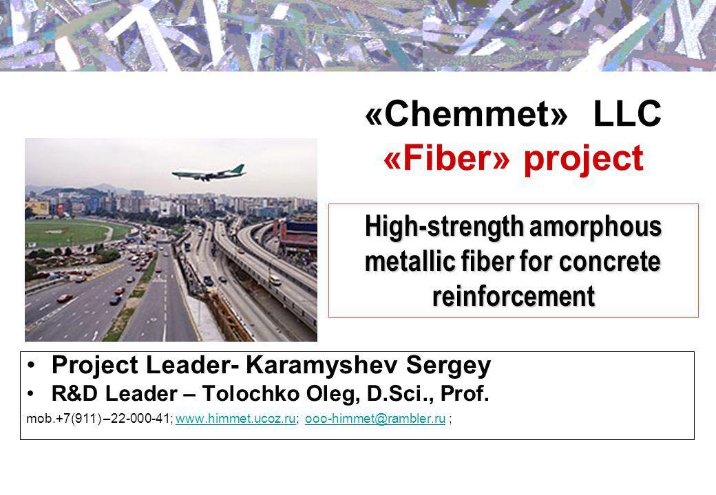 «Chemmet» LLC «Fiber» project Project Leader- Karamyshev Sergey R&D Leader – Tolochko Oleg, D.Sci., Prof.