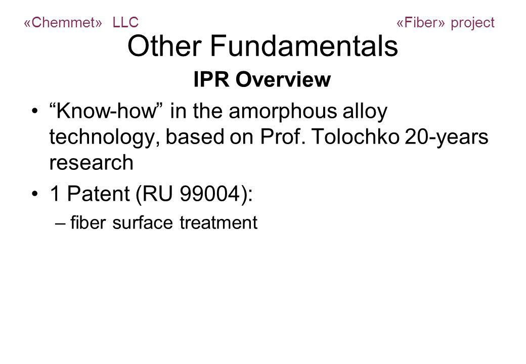 Other Fundamentals IPR Overview Know-how in the amorphous alloy technology, based on Prof.