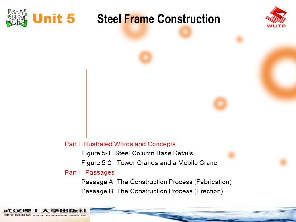 Unit 5 Steel Frame Construction Part Illustrated Words and Concepts Figure 5-1 Steel Column Base Details Figure 5-2 Tower Cranes and a Mobile Crane Pa
