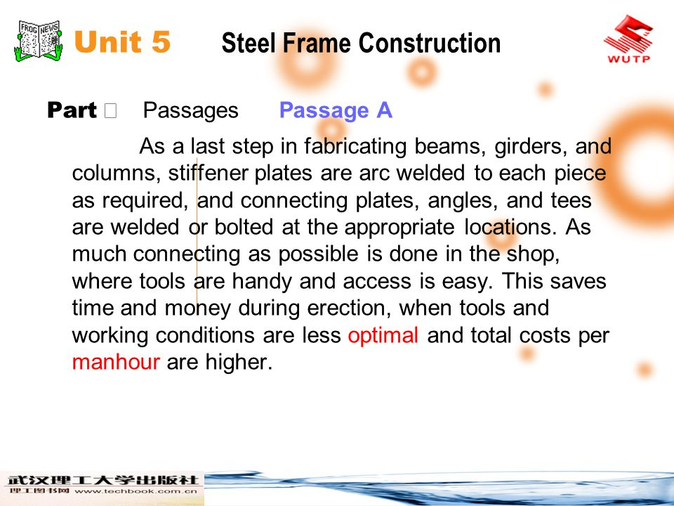 Unit 5 Steel Frame Construction Part Passages Passage A As a last step in fabricating beams, girders, and columns, stiffener plates are arc welded to