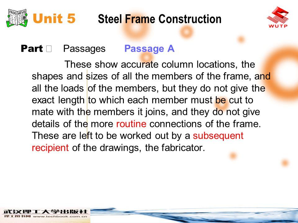 Unit 5 Steel Frame Construction Part Passages Passage B Foundation details for steel columns vary.