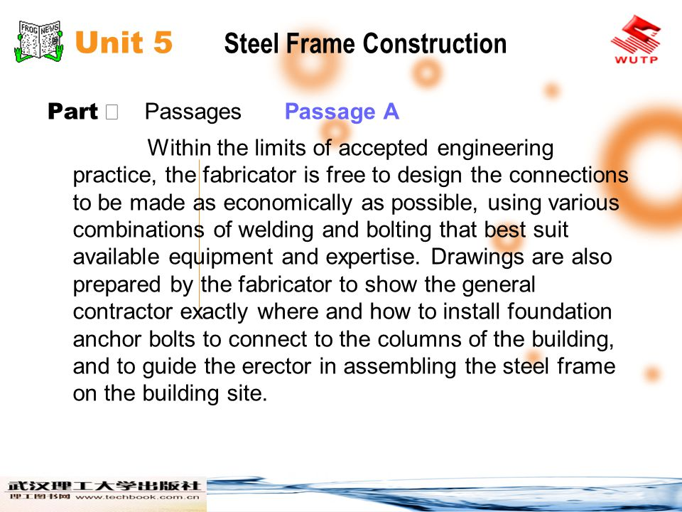 Unit 5 Steel Frame Construction Part Passages Passage A When completed, the fabricators shop drawings are submitted to the engineer and the architect for review and approval to be sure that they conform exactly to the intentions of the design team.