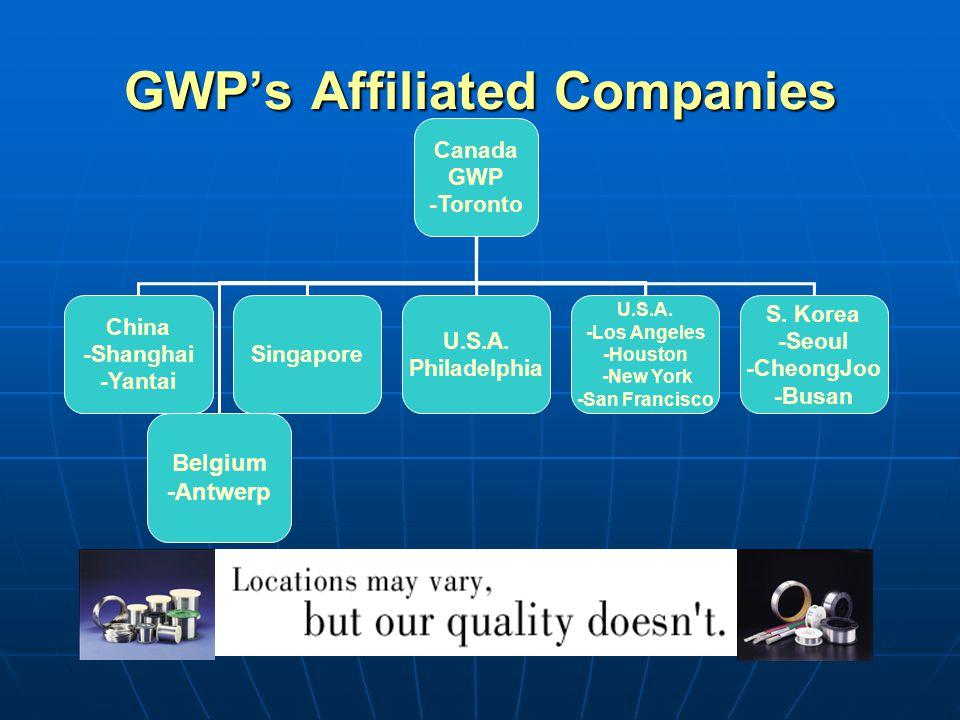 GWPs Affiliated Companies Canada GWP -Toronto China -Shanghai -Yantai Singapore U.S.A.