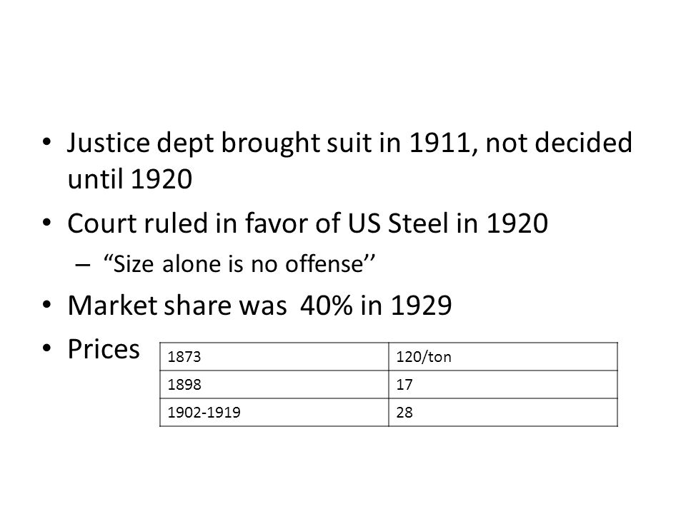 Justice dept brought suit in 1911, not decided until 1920 Court ruled in favor of US Steel in 1920 – Size alone is no offense Market share was 40% in