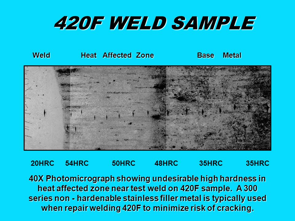 420F WELD SAMPLE 20HRC 54HRC 50HRC 48HRC 35HRC 35HRC 40X Photomicrograph showing undesirable high hardness in heat affected zone near test weld on 420F sample.