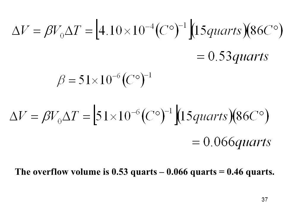 37 The overflow volume is 0.53 quarts – 0.066 quarts = 0.46 quarts.