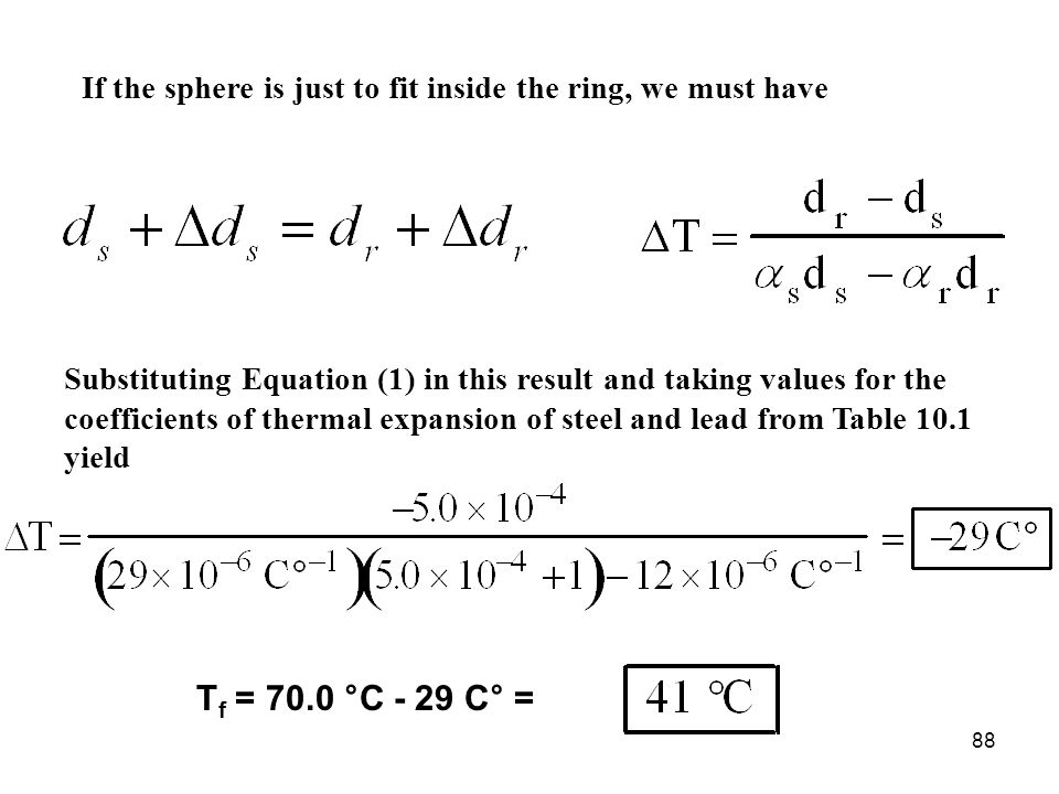 88 If the sphere is just to fit inside the ring, we must have Substituting Equation (1) in this result and taking values for the coefficients of therm