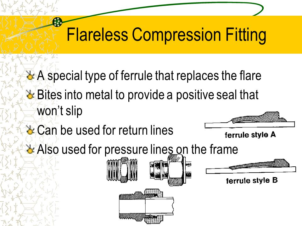 Flexible Lines Many different types and materials used to make flexible lines All flex lines are measured by the inside diameter of the line Can use fraction measurement or dash size All lines rated in working pressure, vacuum, or burst pressure
