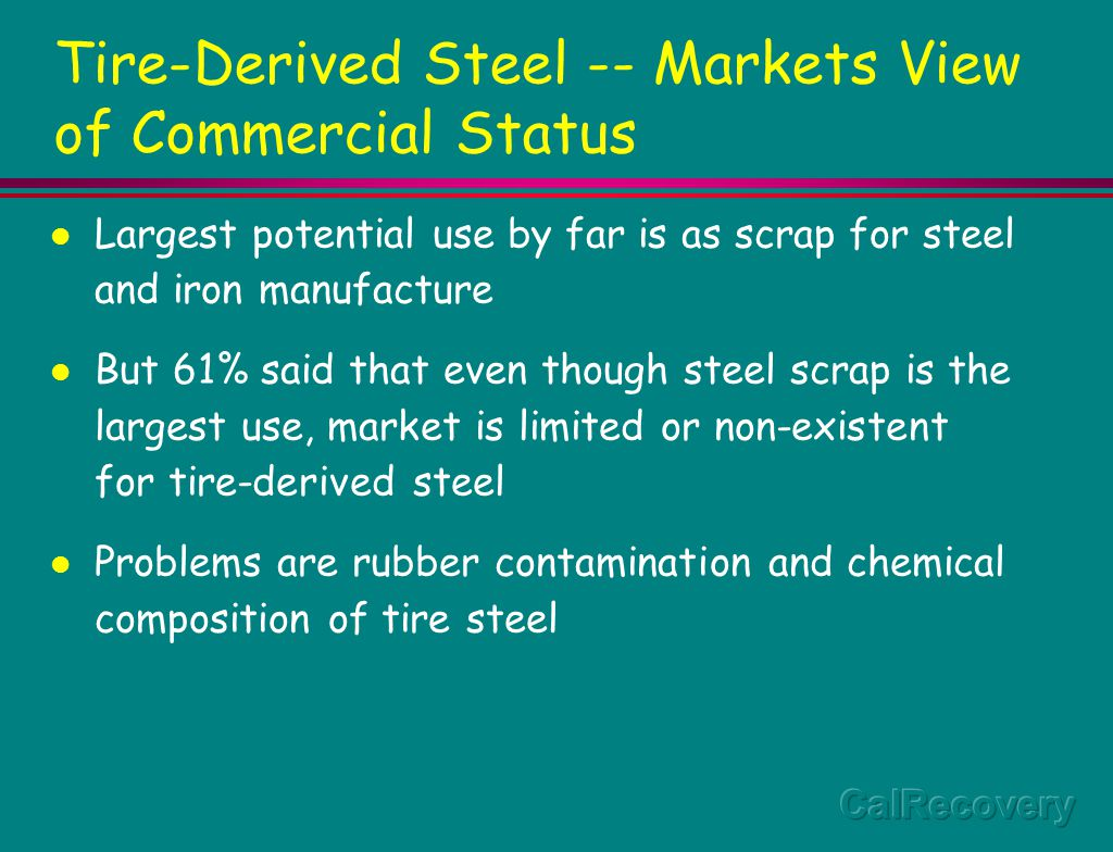 Tire-Derived Steel -- Markets View of Commercial Status Largest potential use by far is as scrap for steel and iron manufacture But 61% said that even though steel scrap is the largest use, market is limited or non-existent for tire-derived steel Problems are rubber contamination and chemical composition of tire steel
