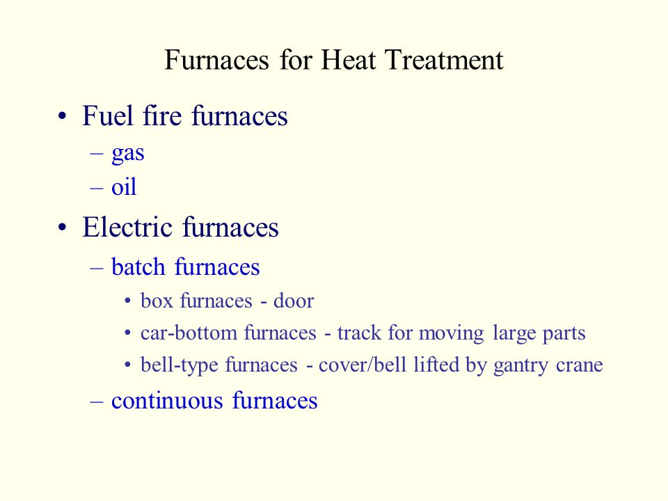 Furnaces for Heat Treatment Fuel fire furnaces –gas –oil Electric furnaces –batch furnaces box furnaces - door car-bottom furnaces - track for moving