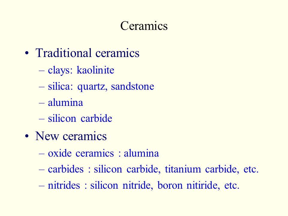 Ceramics Traditional ceramics –clays: kaolinite –silica: quartz, sandstone –alumina –silicon carbide New ceramics –oxide ceramics : alumina –carbides : silicon carbide, titanium carbide, etc.