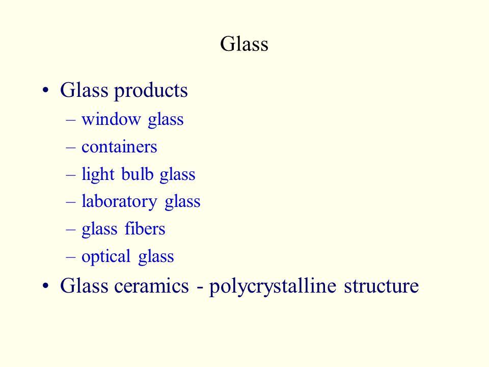 Glass Glass products –window glass –containers –light bulb glass –laboratory glass –glass fibers –optical glass Glass ceramics - polycrystalline struc