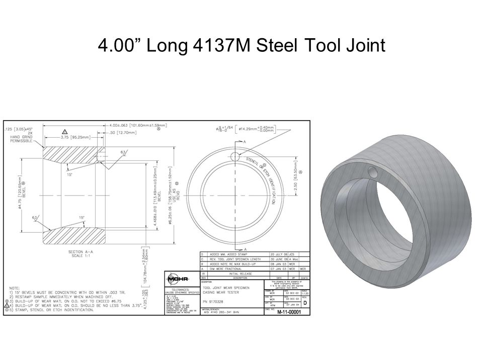 4.00 Long 4137M Steel Tool Joint with 3.75 Long 3/32 Thick Hardband