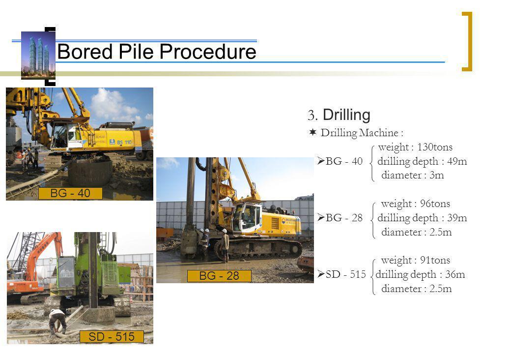 Bored Pile Procedure 3. Drilling Drilling Machine : weight : 130tons BG - 40 drilling depth : 49m diameter : 3m weight : 96tons BG - 28 drilling depth