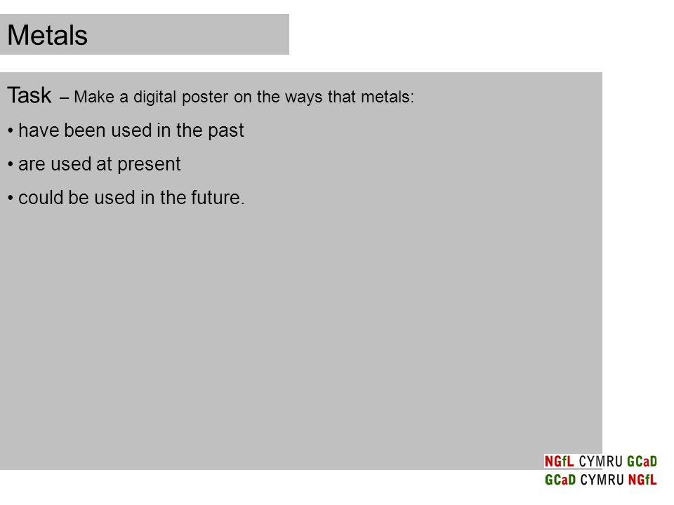 Metals Task – Make a digital poster on the ways that metals: have been used in the past are used at present could be used in the future.