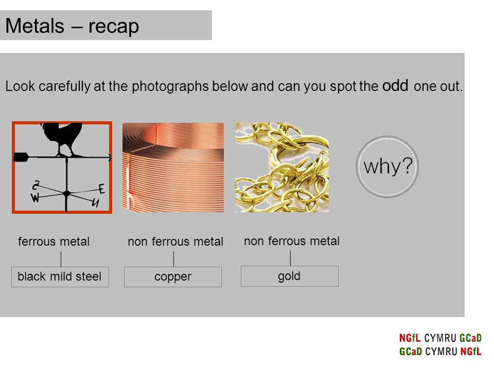 Metals – recap Look carefully at the photographs below and can you spot the odd one out.