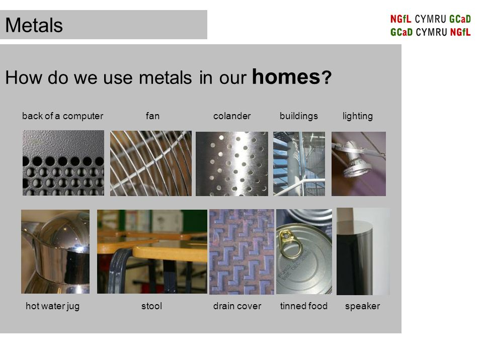 Match the mostly likely used metal to each of the products below.