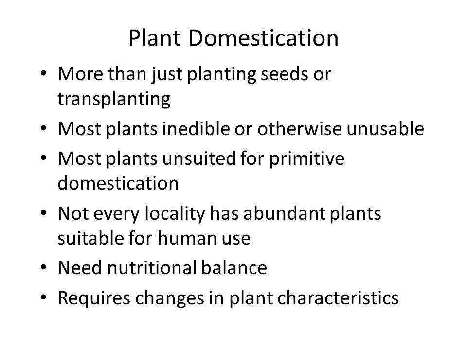 Plant Domestication More than just planting seeds or transplanting Most plants inedible or otherwise unusable Most plants unsuited for primitive domes