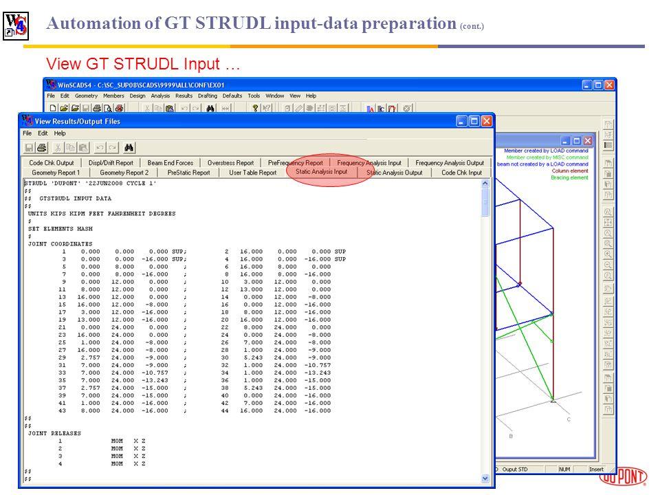 Automation of GT STRUDL input-data preparation (cont.) View GT STRUDL Input …