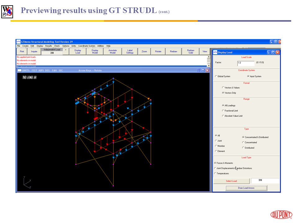 Previewing results using GT STRUDL (cont.)