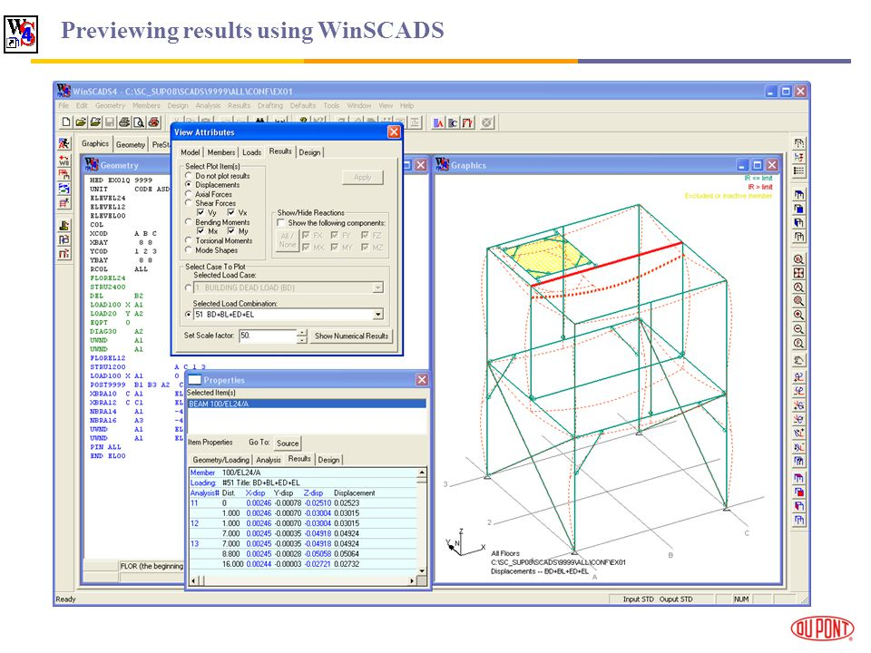 Previewing results using WinSCADS