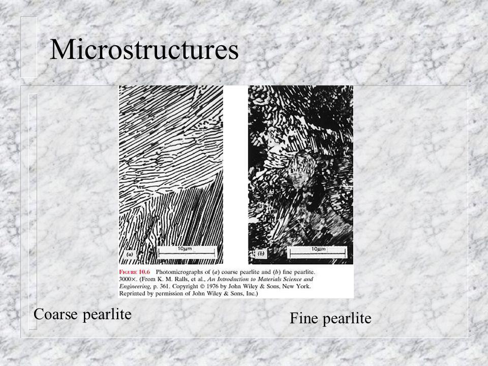 Microstructures Coarse pearlite Fine pearlite