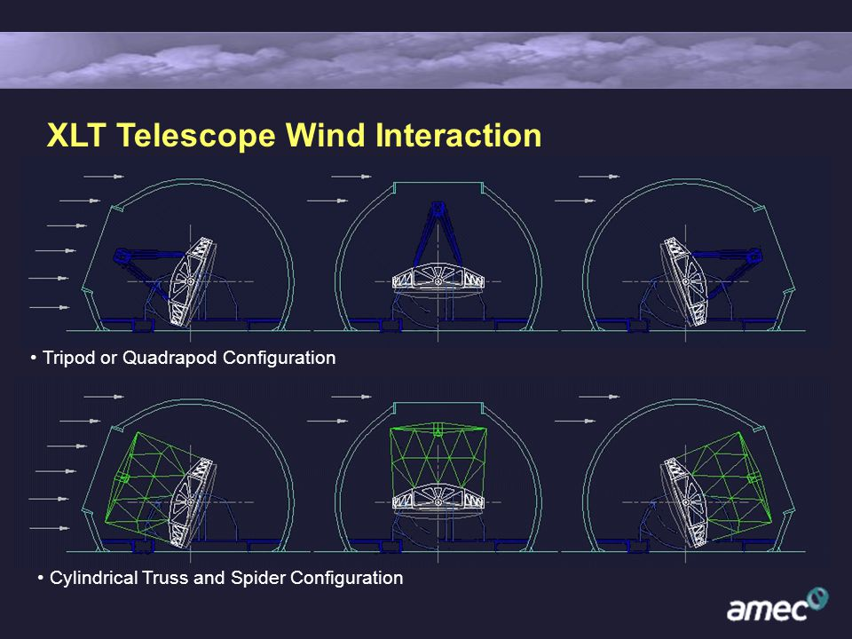 XLT Telescope Wind Interaction Tripod or Quadrapod Configuration Cylindrical Truss and Spider Configuration