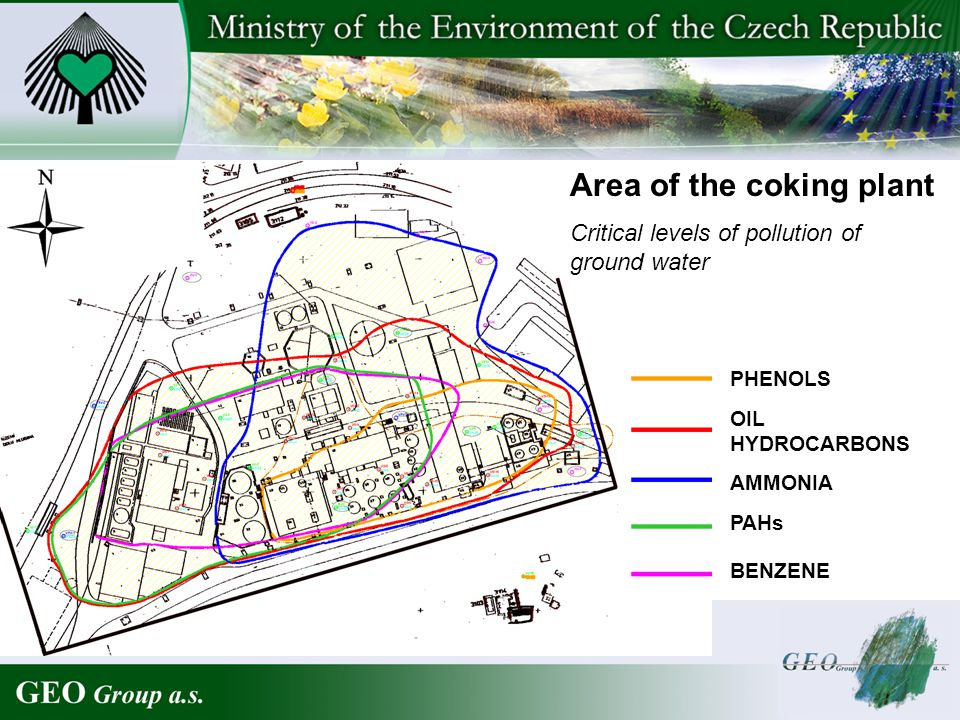 Area of the coking plant Critical levels of pollution of ground water PHENOLS OIL HYDROCARBONS AMMONIA PAHs BENZENE
