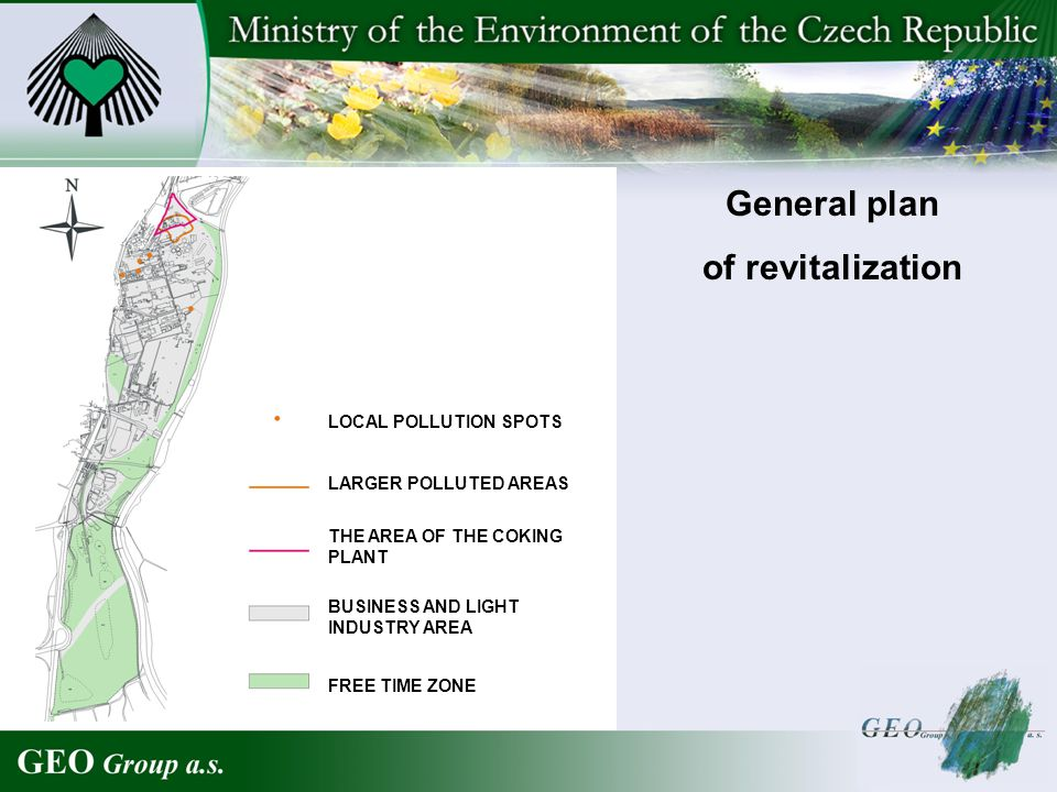LOCAL POLLUTION SPOTS LARGER POLLUTED AREAS BUSINESS AND LIGHT INDUSTRY AREA THE AREA OF THE COKING PLANT FREE TIME ZONE General plan of revitalizatio