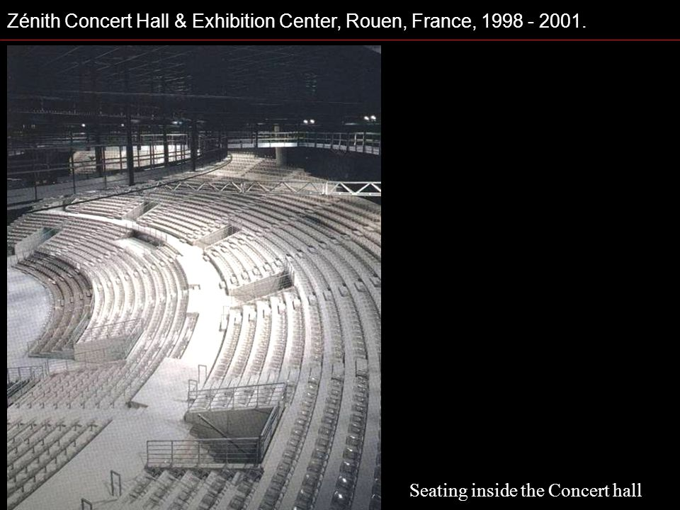Zénith Concert Hall & Exhibition Center, Rouen, France, 1998 - 2001. Seating inside the Concert hall