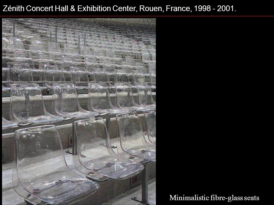 Zénith Concert Hall & Exhibition Center, Rouen, France, 1998 - 2001. Minimalistic fibre-glass seats