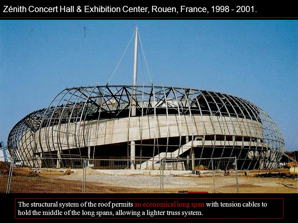 Zénith Concert Hall & Exhibition Center, Rouen, France, 1998 - 2001. The structural system of the roof permits an economical long span with tension ca