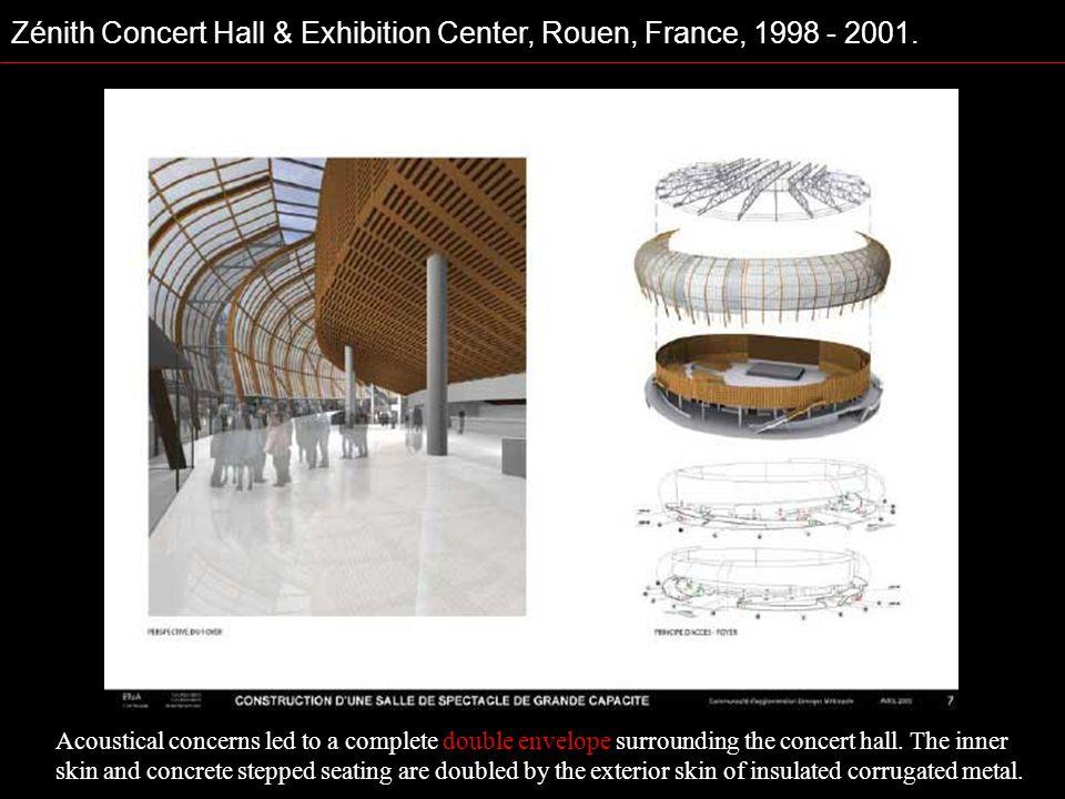 Zénith Concert Hall & Exhibition Center, Rouen, France, 1998 - 2001. Acoustical concerns led to a complete double envelope surrounding the concert hal
