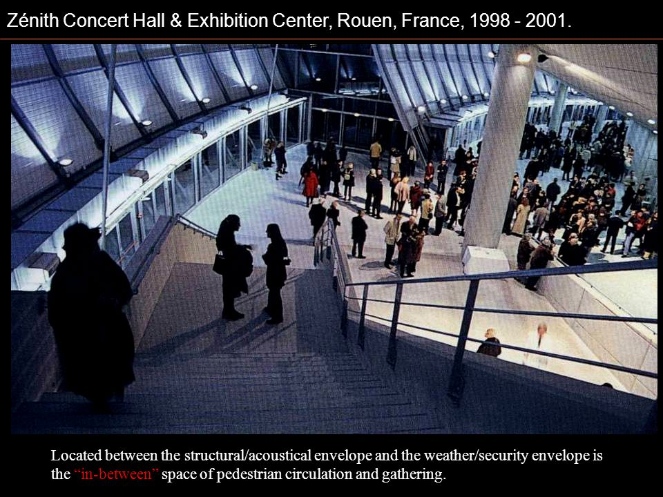 Zénith Concert Hall & Exhibition Center, Rouen, France, 1998 - 2001. Located between the structural/acoustical envelope and the weather/security envel