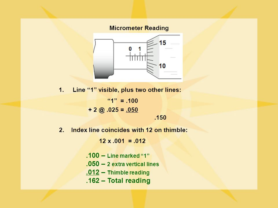 Micrometer Reading 1.Line 1 visible, plus two other lines: 1 =.100 + 2 @.025 =.050.150 2. Index line coincides with 12 on thimble: 12 x.001 =.012.100