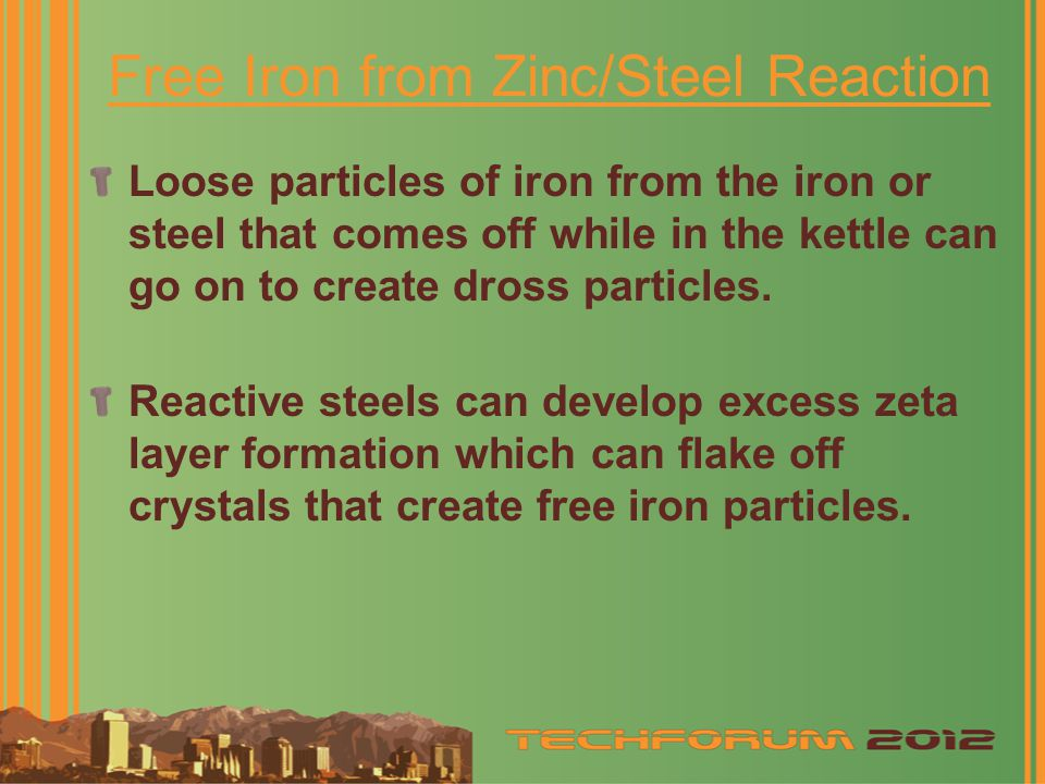 Free Iron from Zinc/Steel Reaction Loose particles of iron from the iron or steel that comes off while in the kettle can go on to create dross particles.