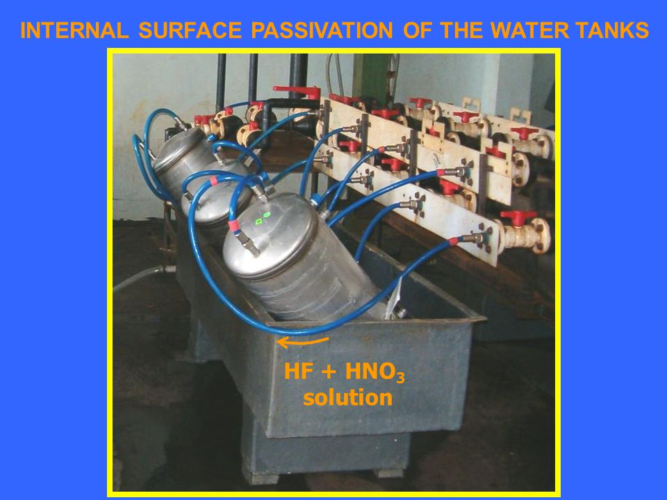 INTERNAL SURFACE PASSIVATION OF THE WATER TANKS HF + HNO 3 solution