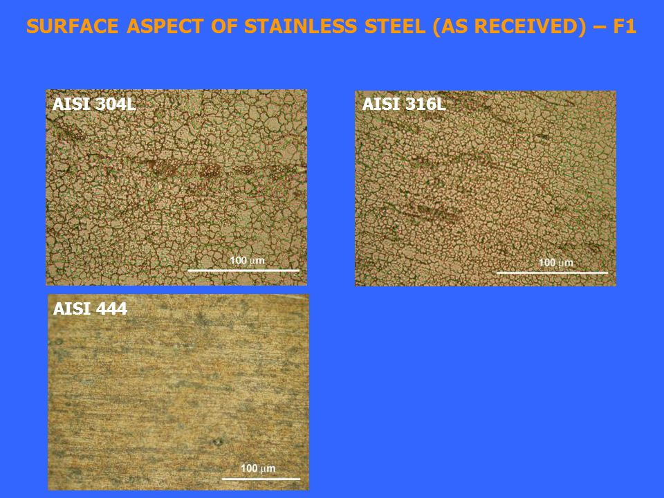 SURFACE ASPECT OF STAINLESS STEEL (AS RECEIVED) – F1 AISI 304L AISI 316L AISI 444