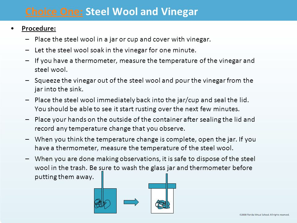 Choice One:Choice One: Steel Wool and Vinegar Procedure: –Place the steel wool in a jar or cup and cover with vinegar. –Let the steel wool soak in the