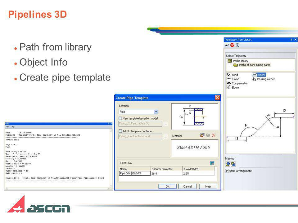 Path from library Object Info Create pipe template Pipelines 3D