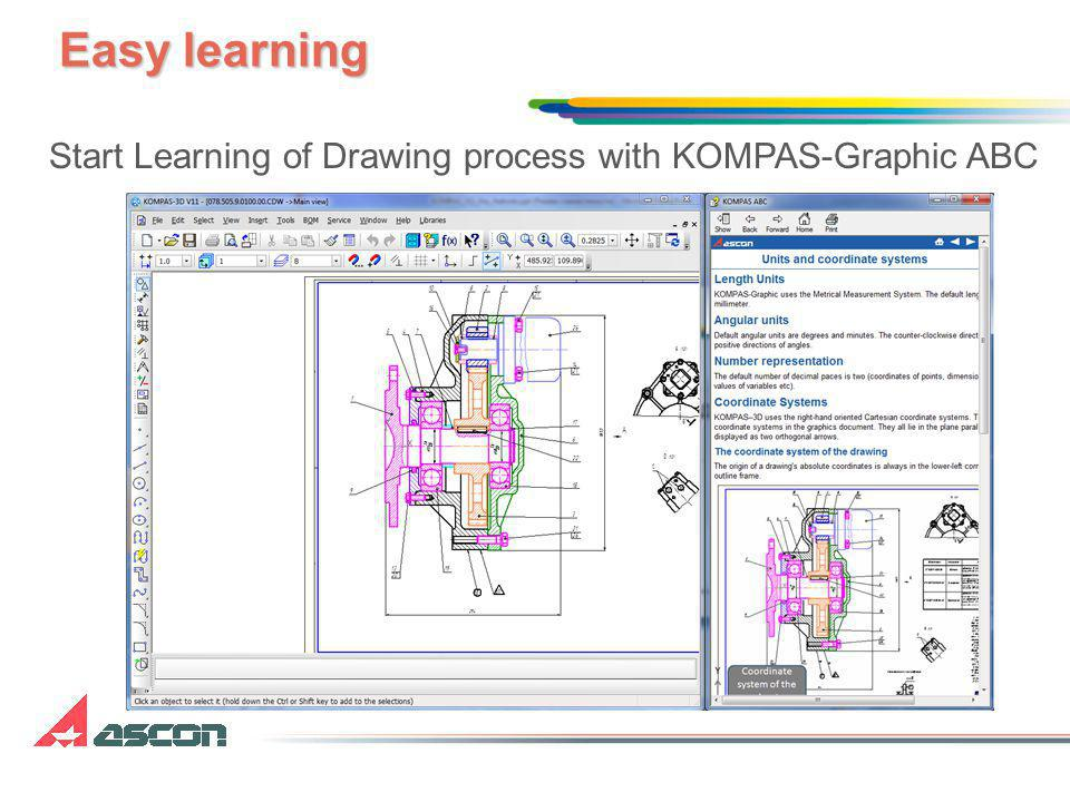 Easy learning Start Learning of Drawing process with KOMPAS-Graphic ABC