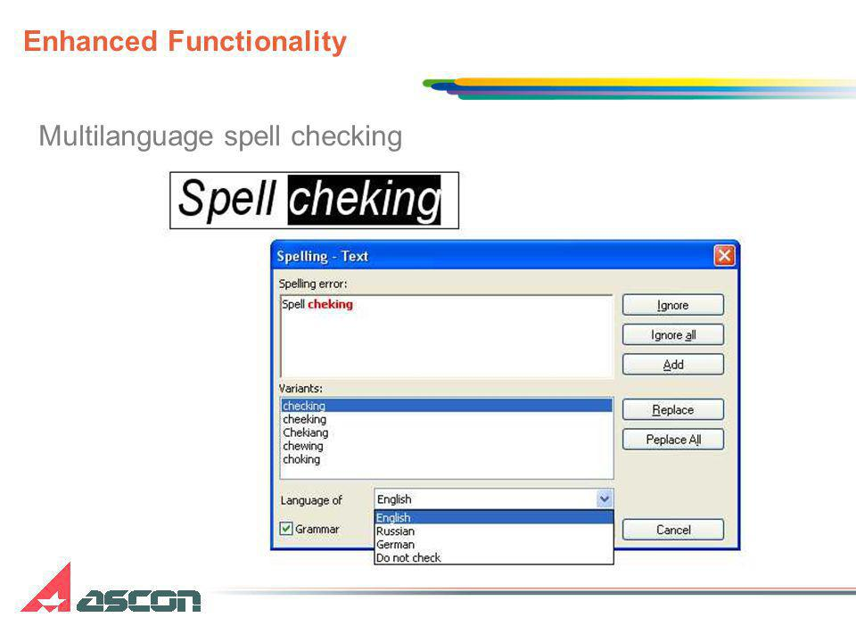 Multilanguage spell checking Enhanced Functionality